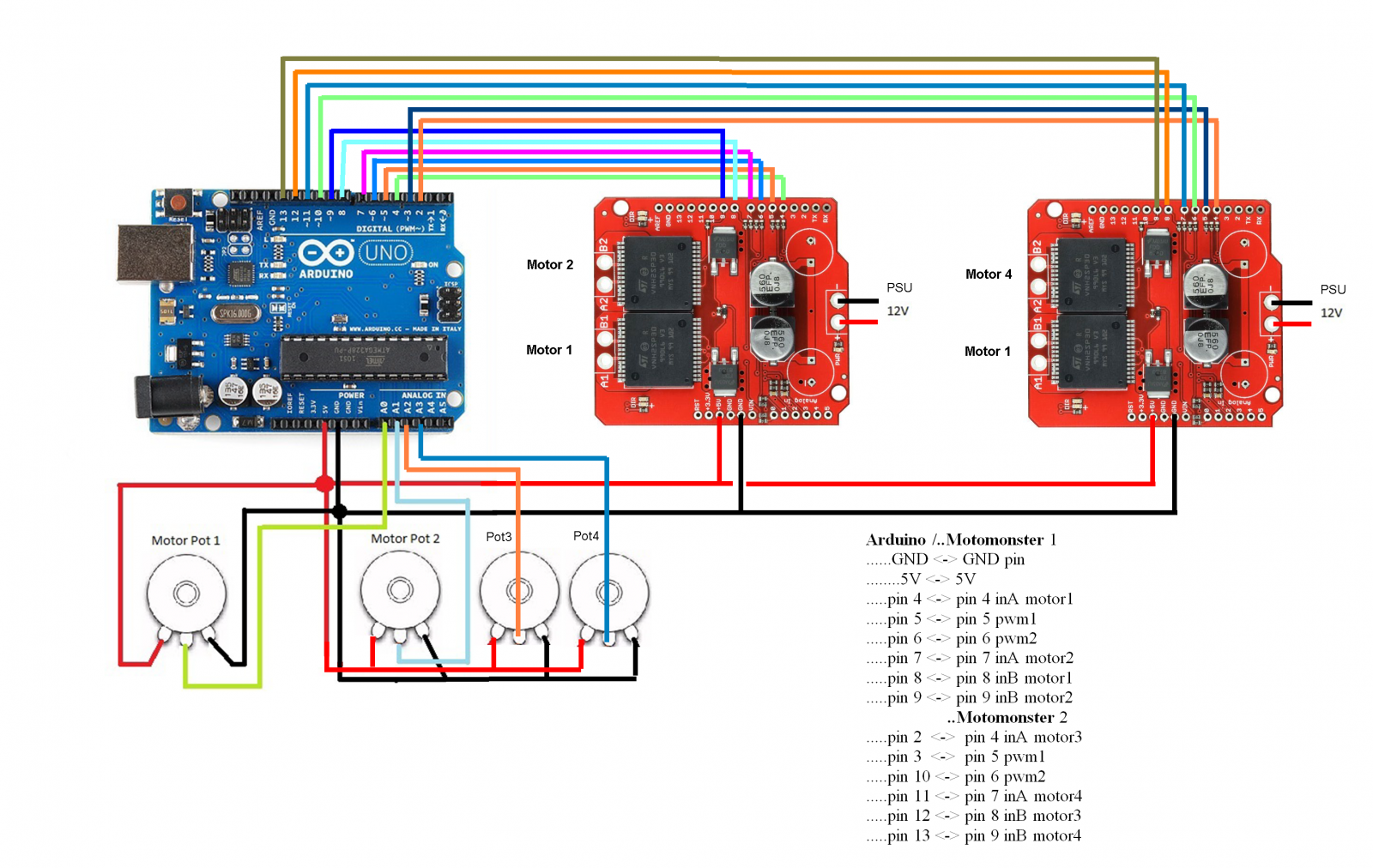 Tutorial Arduino Code For 4dof And 1 Dirpin Hbridge Board