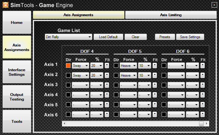 Tuning Centre and Axis Settings