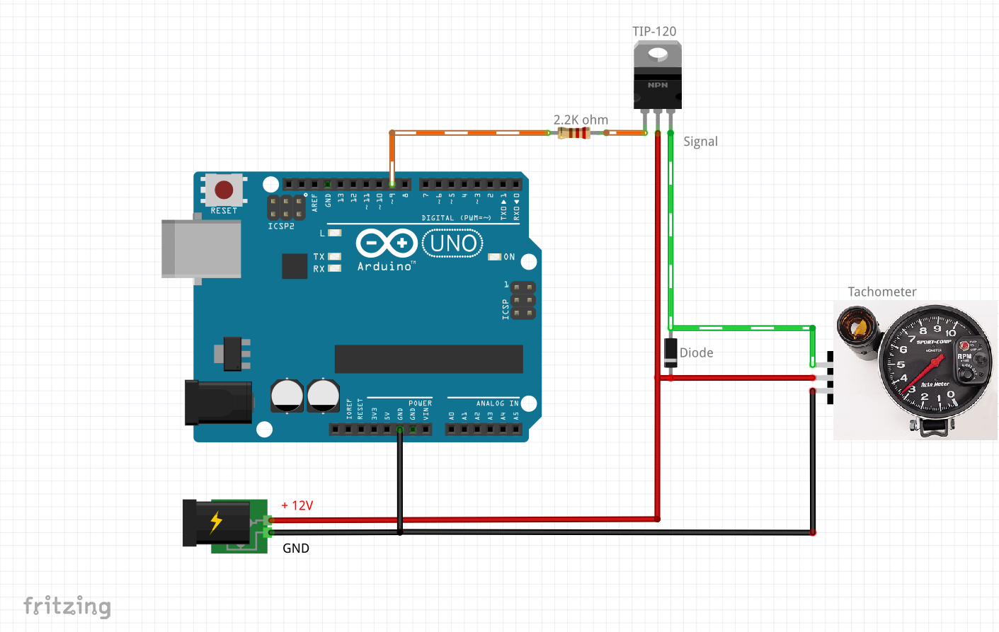 Tutorial - Arduino RevBurner driving a tachometer.