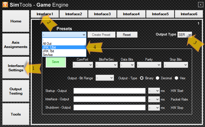 Setting a Jrk in the Interface