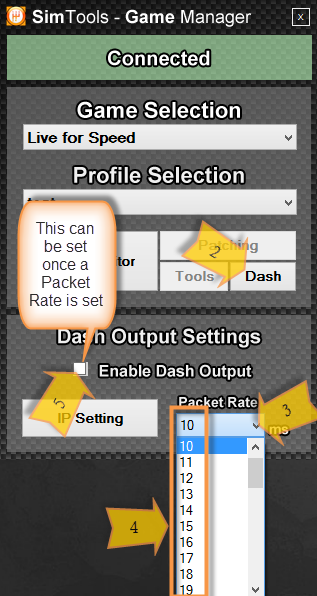 Setting a packet rate for Dash Out