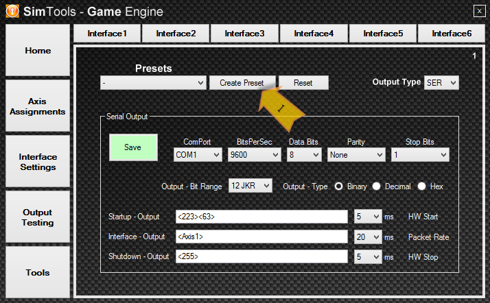 To Create an Interface Preset