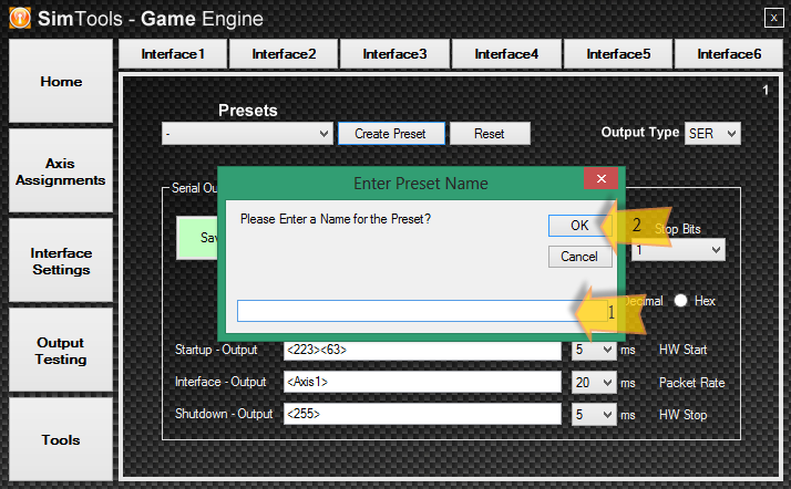 To Save an Interface Preset